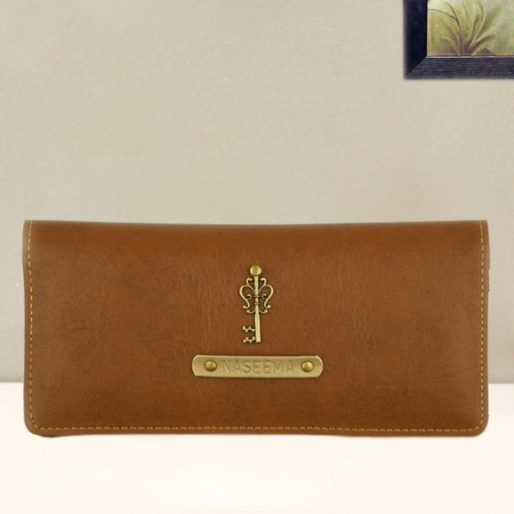 Personalised Womens Wallet - Tan Color
