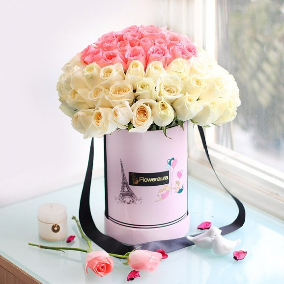 Bunch of White and Pink Roses in Flower Box