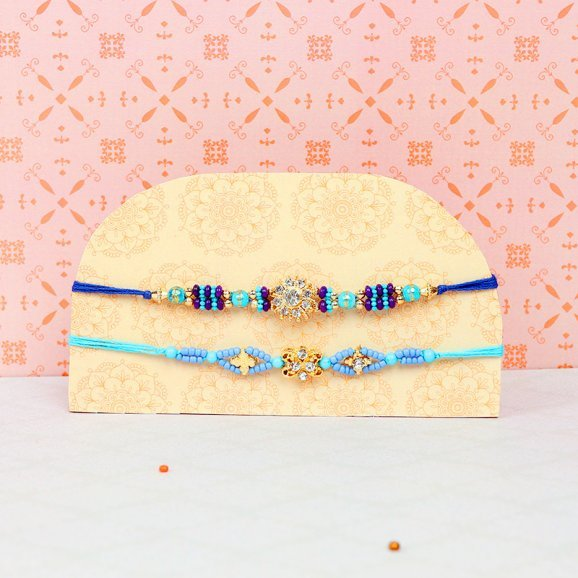 Cerulean Dream - Pair of Two Blue Designer Rakhis