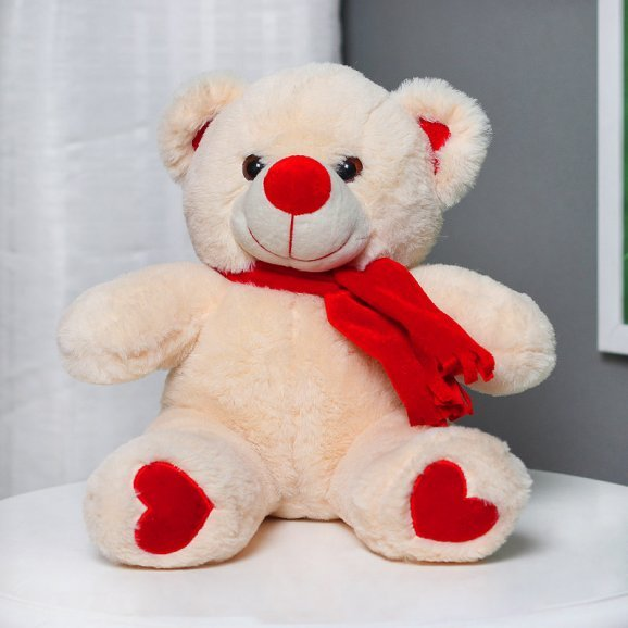 Beige Love Teddy with Red Bow