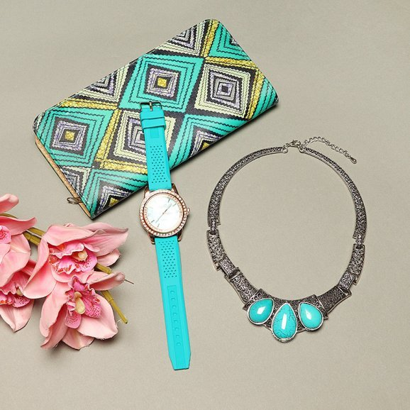 Chic Style - Combo of Purse with Wrist Watch and a Necklace