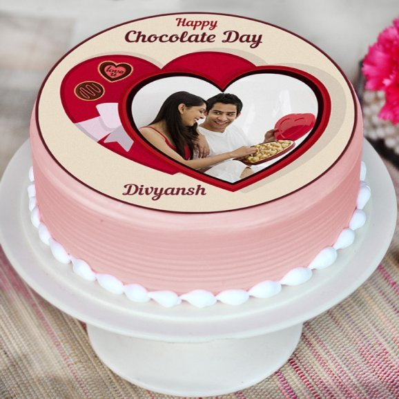 Photo Cake for Chocolate Day - Zoom View