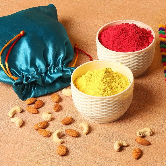 Holi Combo of Dry Fruits and Gulal in a Potli