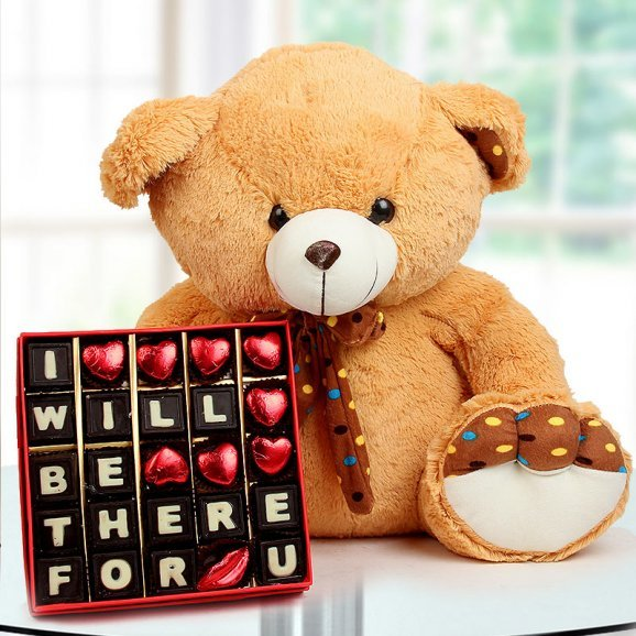 A 24 Inch Brown Teddy Bear and A Box of I will Be There for You Handmade Chocolate