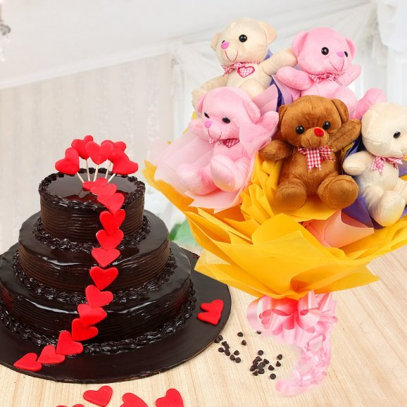 Dark Temptation - Combo of 3 tier chocolate cake and 4 teddies
