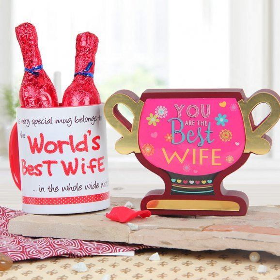 You are the best wife award with World best wife quoted mug combo