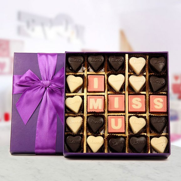 A box of 25 handmade chocolates with I Miss You message