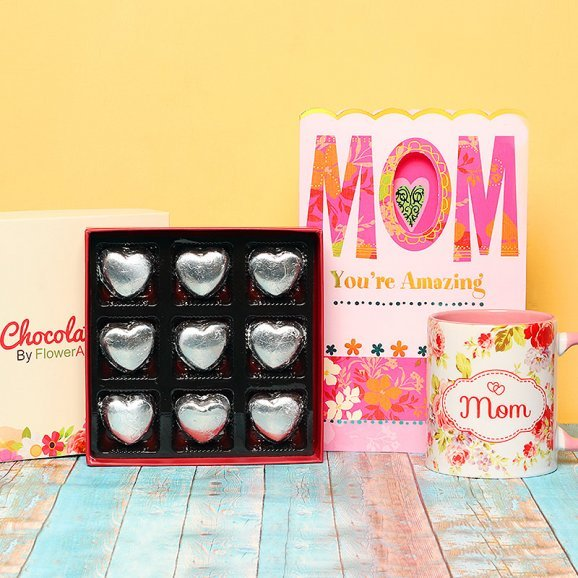 Combo of Chocolates with Greeting Card and Mug for Mom