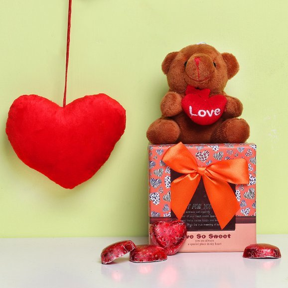 Combo of Small Teddy and Handmade Chocolates