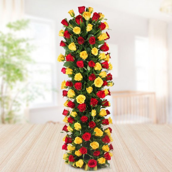 3 feet arrangement of 50 mixed roses - A gift of Deluxe Glazed Happiness
