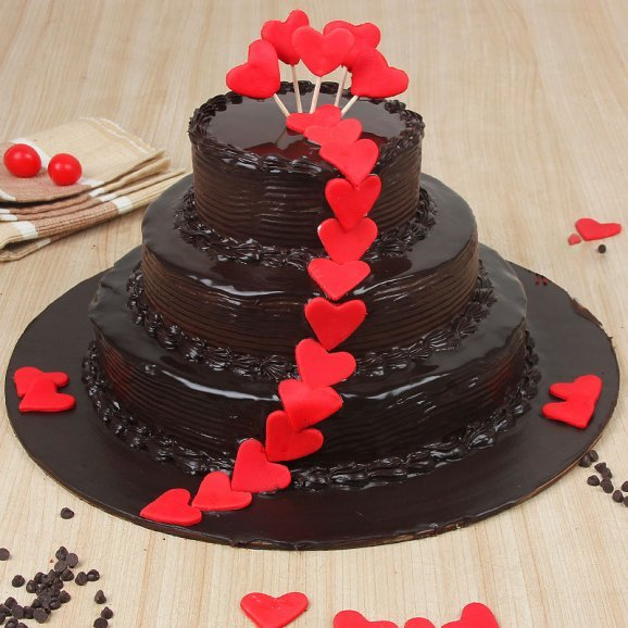 3 tier chocolate cake - A gift of Deluxe Glazed Happiness