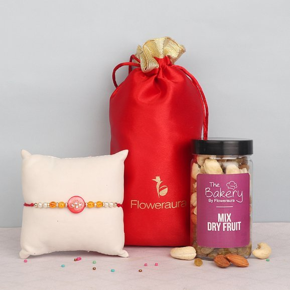 Red Stone Rakhi with Mixed Dry Fruits Gift Combo