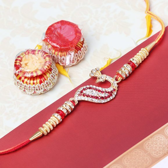 Diamond Studded Peacock Rakhi