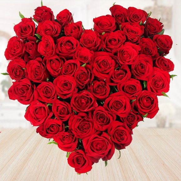 heart shape bouquet of 35 red roses - 1st gift of Double Deck Combo