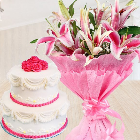 Dreamy Creamy Love - Combo gift of Pink liles and 2 tier vanilla cake