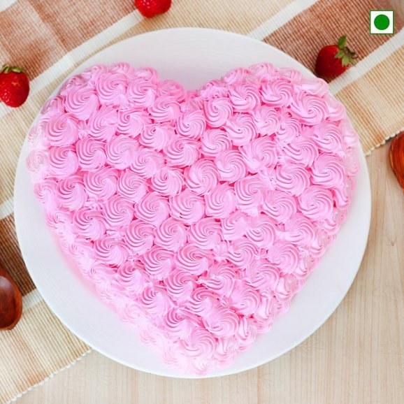 Heart-shape Strawberry Anniversary Cake Eggless