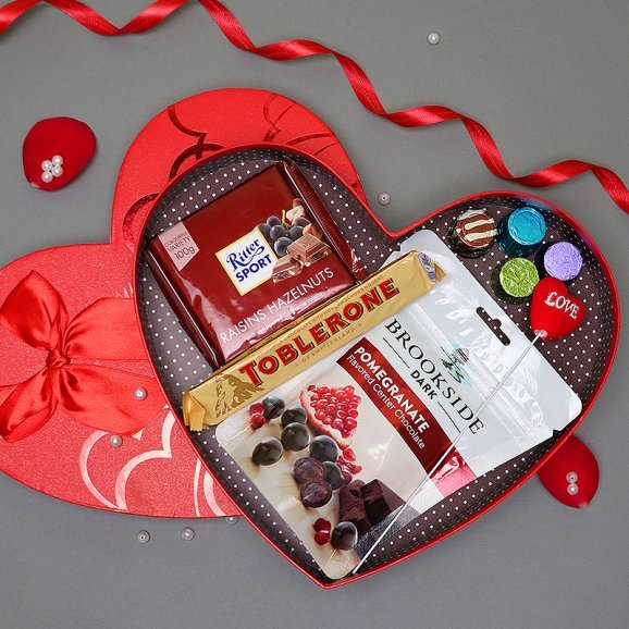 Chocolates in a Heart Shaped Box