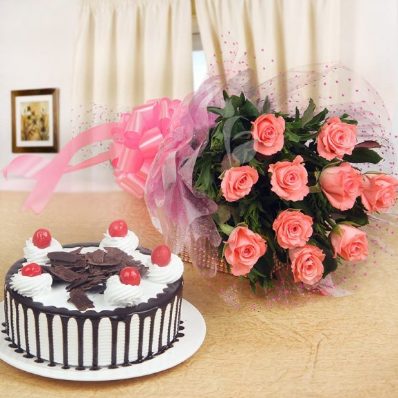 Enchanting Beauty Combo of 10 pink roses with half kg black forest cake