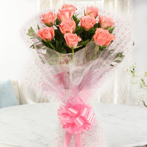 Front view of 10 pink roses - A gift of Enchanting Beauty