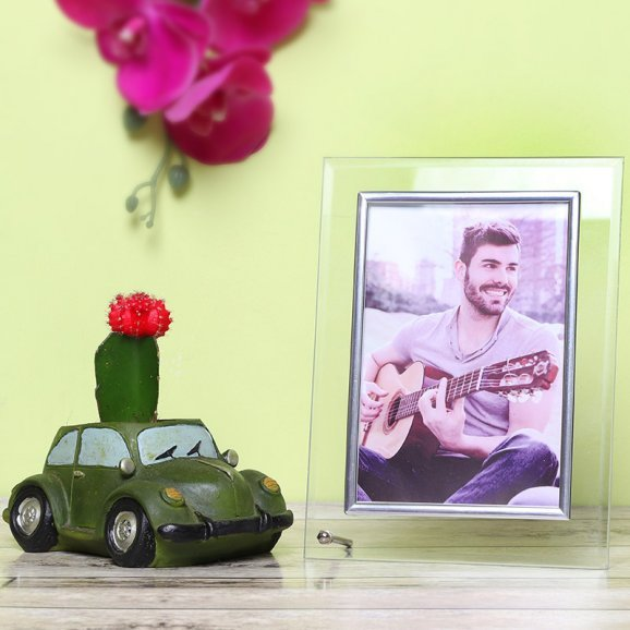Personalised Photo Frame with Moon Cactus Combo