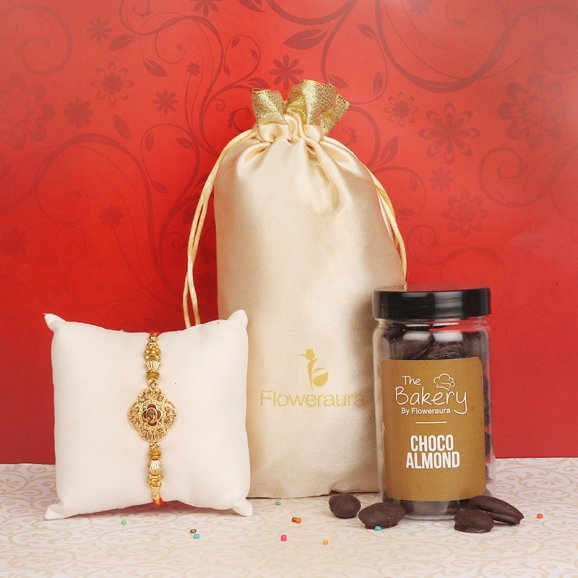 Metal Rakhi with Choco Almonds Gift Combo