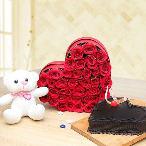 Fancy Love - Combo of 6inch Teddy, 35 red roses and a heart shaped chocolate cake