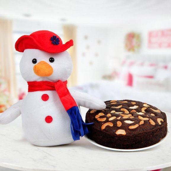 Fluffy white 6 inches Snowman and a dry fruit rich 1/2 kg Plum Cake