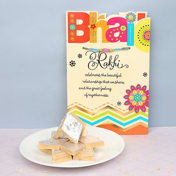 Rakhi with Card and 500g Kaju Katli Combo