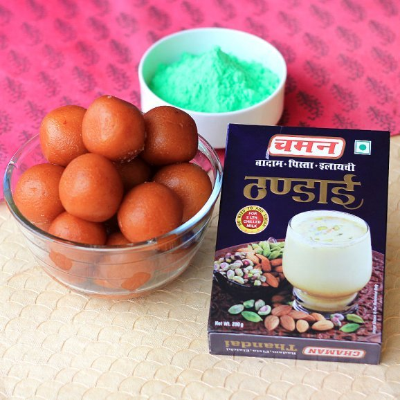 A combo having pack of delicious Gulab Jamun a pack of Thandai and Green Gulal