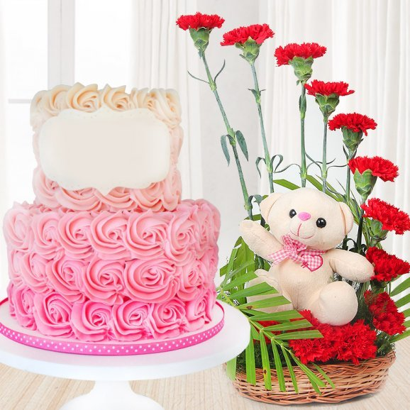 Flawless Rose Delight Combo - 2 tier strawberry cake with 12 red carnations and a teddy