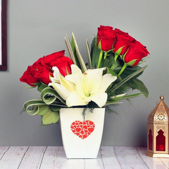 Roses with Lilies Bunch in a White Vase
