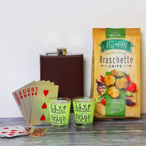 Whiskey Flask with Shot Glasses and Snacks alongwith Playing Cards