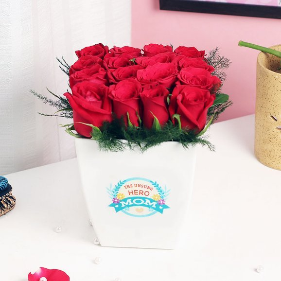 Red Roses in a Vase for Mom