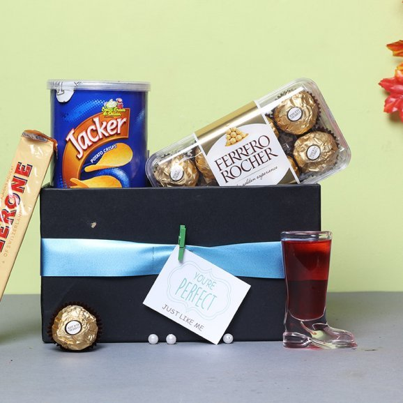 Chocolates with Shot Glass and Snacks Combo