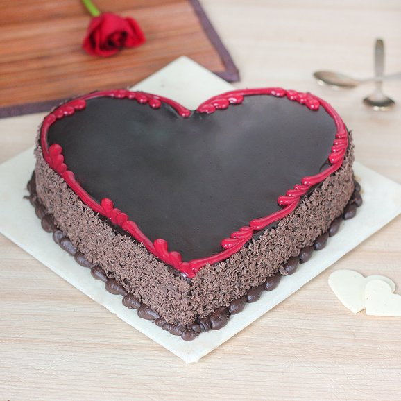 Marriage Anniversary Heart Shape Chocolate Cake