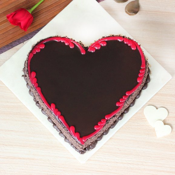 Marriage Anniversary Heart Shape Chocolate Cake Top View