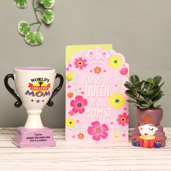A Mothers Day Combo Gift of Card with Trophy and Plant