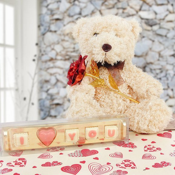 Teddy with artificial rose & chocolate