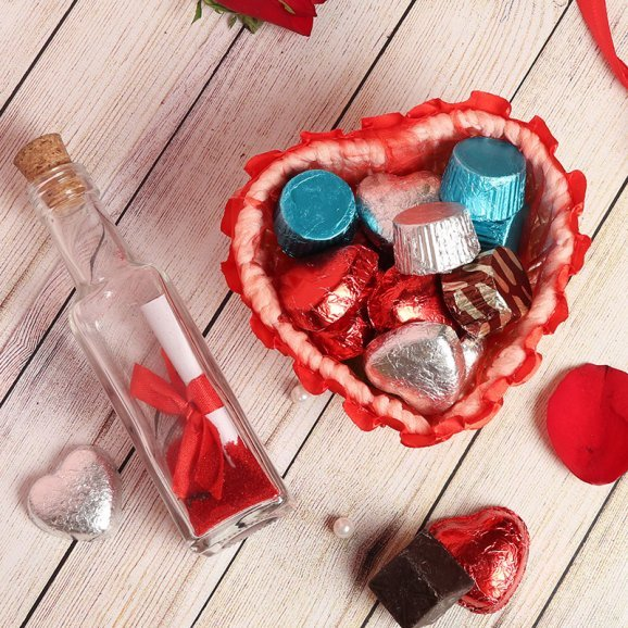Love Note in Bottle with Handmade Chocolates Combo