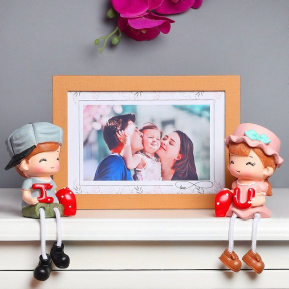 Personalised Photo Frame with Love Doll Couple Combo