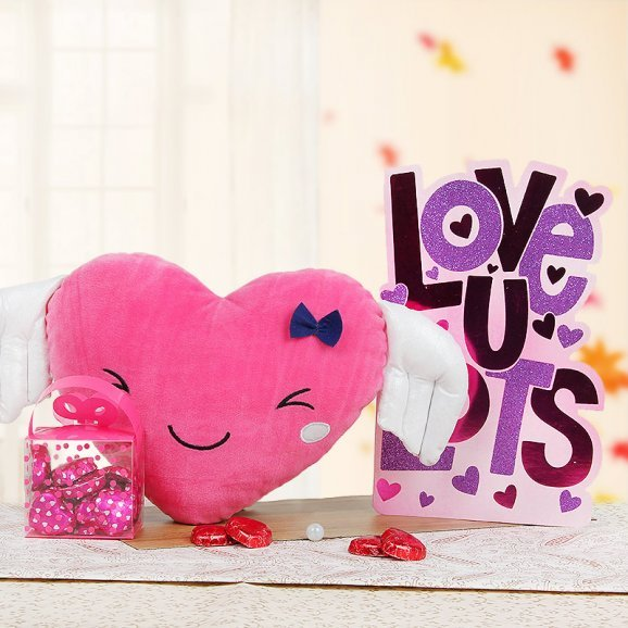 A Pink Cushion and a Card with Chocolates Combo