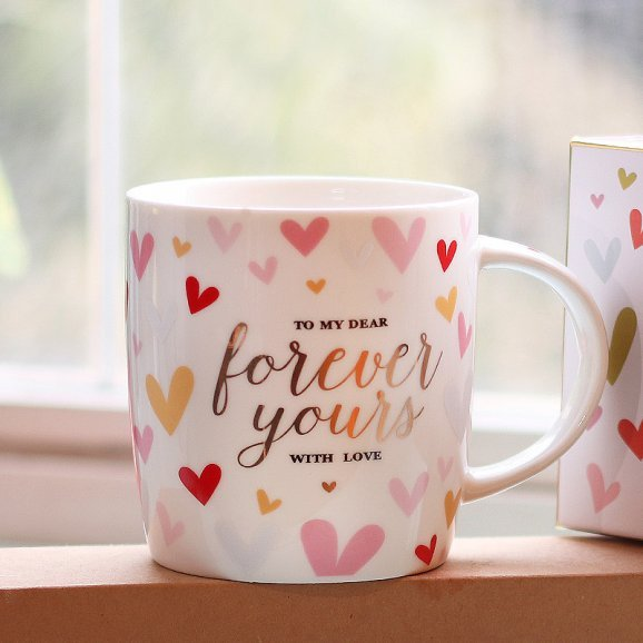 Forever Yours Mug with Printed Hearts in Closed View