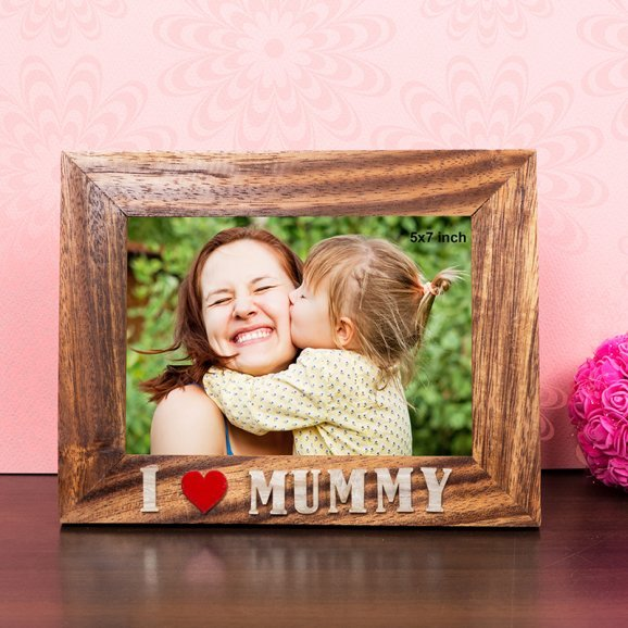 I love Mummy 7X9 Inch Wooden Table Top Photo Frame