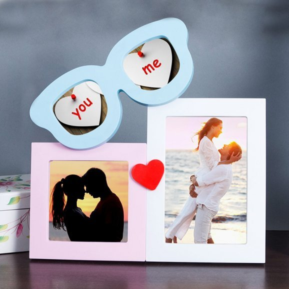 Specs Shaped Red Heart Wood Photo Frames.