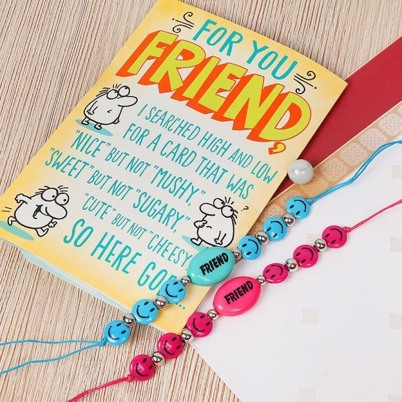 Greeting Card with Band Gift Combo for Friendship Day