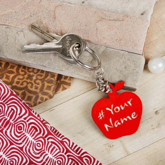 Apple Shaped Personalised Keychain