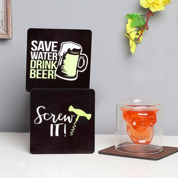 Shot Glass with Coasters