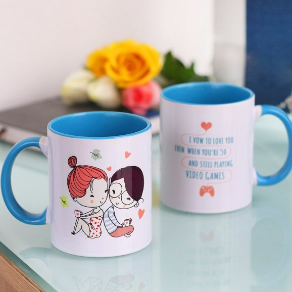 Love Forever Quote Printed Mug with Both Side View