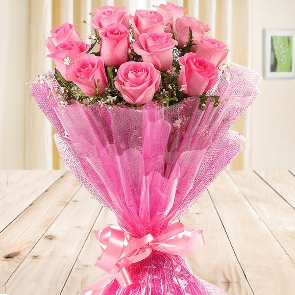 Front view of 12 pink Roses bouquet - A part of Gift of Fondness