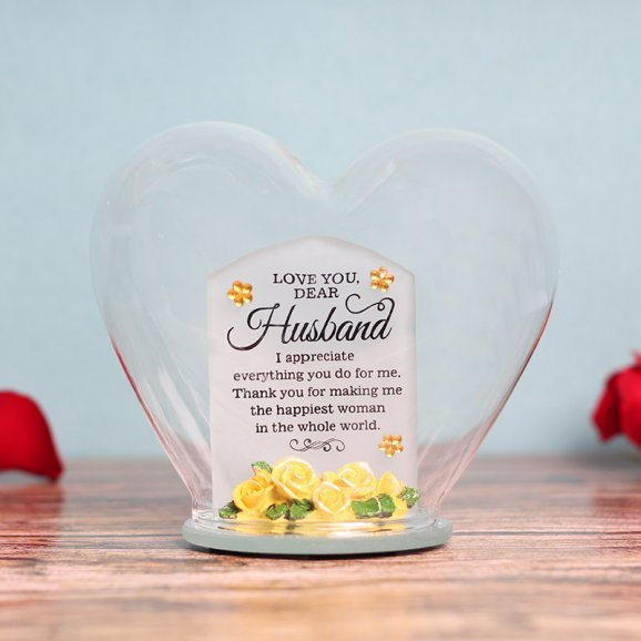 Heart Shaped Glass Quotation for Husband